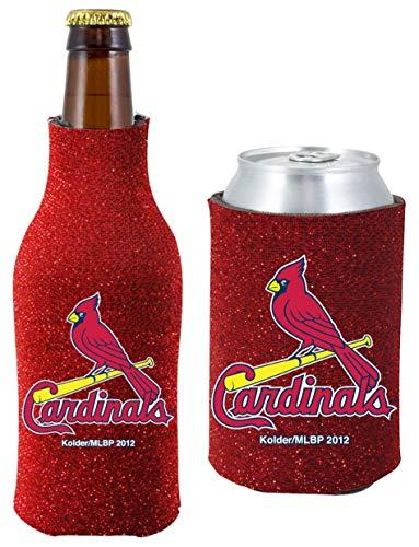 MLB Baseball Team Logo Womens Glitter Bottle & Can Cooler Set 12oz Neoprene Beverage Drink Holder Sleeve (St Louis Cardinals)