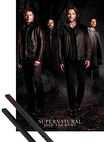 Poster + Hanger: Supernatural Poster (36x24 inches) Season 12 Key Art And 1 Set Of Black 1art1 Poster Hangers