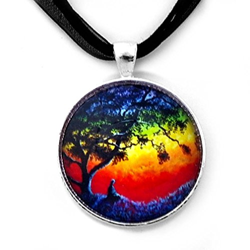 Rainbow Buddha Pendant Chakra Meditation Handmade Spiritual Jewelry (Black Ribbon Necklace)