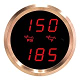 VEI Systems Dual-Display gauge: 150 PSI oil pressure and 320 deg-F oil temperature (red/silver)