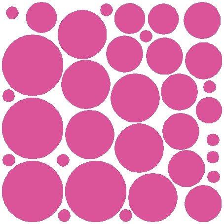 34 Bubble Gum Pink Polka Dot Wall Stickers Removable Dot Wall - Bubble Gum Dot