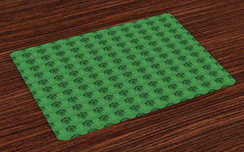 Lunarable Emerald Place Mats Set of 4, Abstract Floral Arrangement Green Color Palette Curves Dots Shaped Petals, Washable Fabric Placemats for Dining Room Kitchen Table Decor, Fern Green