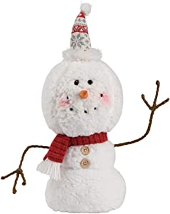 Christmas Animated Snowman 2020 Ornaments, Silvery White Hat Xmas Plush-Knit Collectible Plush Doll, Adjustable Pointed Hat, Outdoor Home Decorations Gift Present 15.7 inch