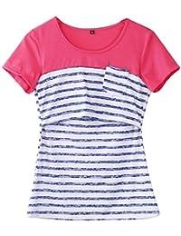Women Breastfeeding Shirt Striped Patchwork Short Sleeve Maternity Breastfeeding and Nursing Tops