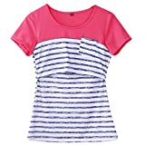 Women Breastfeeding Shirt Striped Patchwork Short Sleeve Maternity Breastfeeding and Nursing Tops (XL, Blue Stripe)