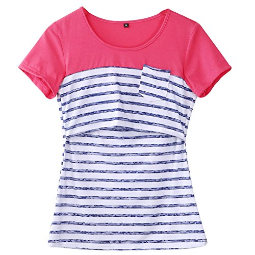 Women Breastfeeding Shirt Striped Patchwork Short Sleeve Maternity Breastfeeding and Nursing Tops (M, Blue Stripe)