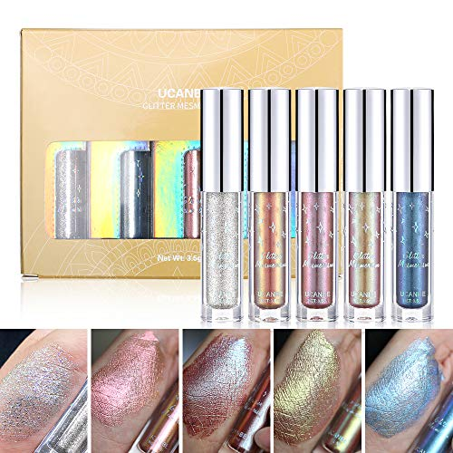 UCANBE Glitter & Glow Liquid Eyeshadow Set 3D Shimmer Metallic Waterproof Creamy Eye Gloss Makeup Kit Set 3