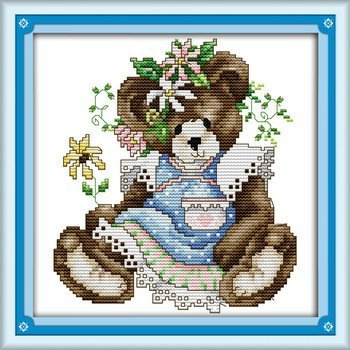 Joy Sunday Cross Stitch kits, May bear,11CT Stamped, 27cm×27 or 10.53×10.53 NKF