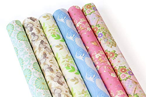 Japanese Tissue Paper - UNIQOOO Premium Gift Wrapping Paper- 24Sheets/6 Designs 4 Each in 3 Roll Pack/Each Sheet Size 27½