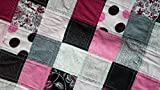 Handmade Pink White and Black Baby Quilt