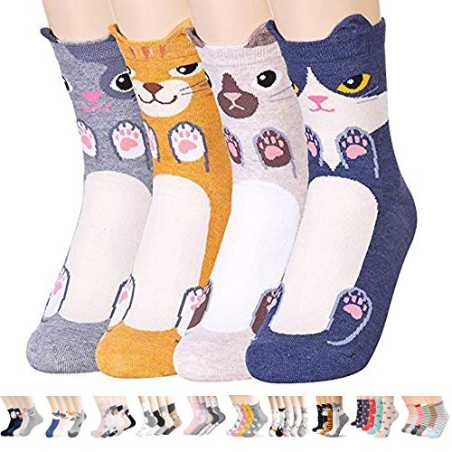 Womens Casual Socks-Cute Crazy Lovely Animal Cats Good for Gift One Size Fits All,Balmore 4 Pairs,One Size