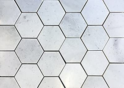 "Carrara White 4"" Hexagon Polished Marble Mosaic Tile Backsplash Wall Floor"