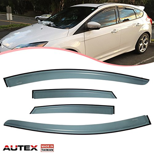 (AUTEX 4Pcs Tape On Side Window Deflector Fits for 2012 2013 2014 2015 2016 2017 Ford Focus Rain Guards Window Visor)