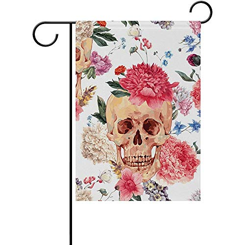 Sandayun88x Garden Flags Halloween Vintage Skulls Floral Flowers Garden Flag House Banner 12 x 18 inch, Winter Happy New Year Decorative Flag for Party Yard Home Outdoor -