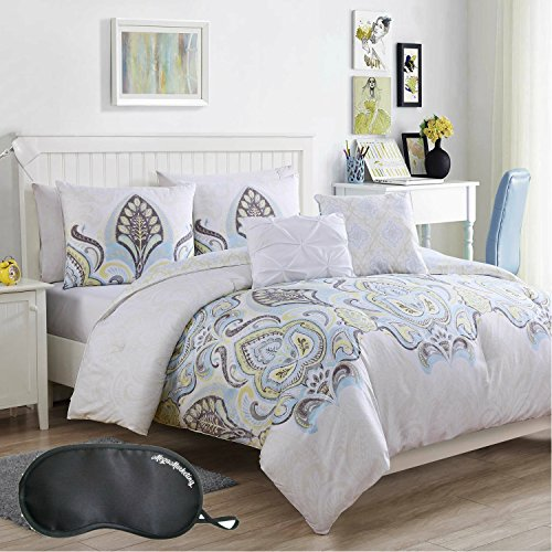 Dan River Soft Pillow (VCNY Home Boho-Inspired Floral Damask Medallion 5-Piece Full/Queen Reversible Comforter Set in Soft Gold Ground with Sleep Mask)