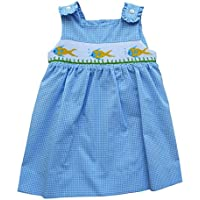 Carriage Boutique Baby Girl Blue Overall Dress - Smocked Yellow Fish