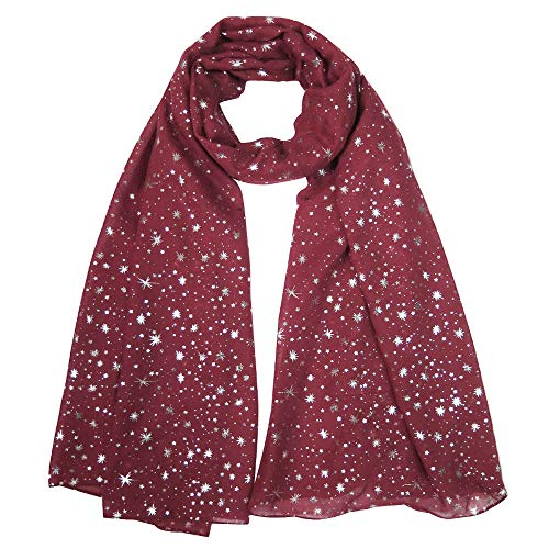 Lina & Lily Silver Gold Glitters Shimmer Foil Stars Women Scarf Shawl Wrap (Dark Red (silver stars))]()