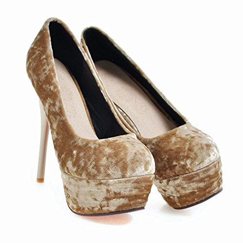 Charm Foot Womens Fashion Faux Suede Platform High Heel Pump Shoes Beige 3LP3dO
