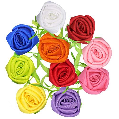 Bows for Toddler Girls Small Ribbon Rose Flower Hair Bows Alligator Clips 10PCS