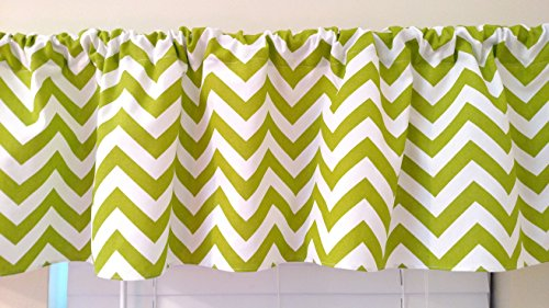 Chartreuse Lime green Chevron Valance Curtain, window treatments, zig zag white , stripes, topper, kitchen curtain, kids, nursery, playroom