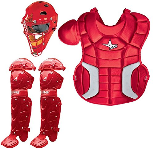 All-Star Sports Baseball/Softball Catcher's Kit (Junior Ages 9-12 Helmet, Chest & Leg Protectors, Equipment Bag) (Scarlet Red)