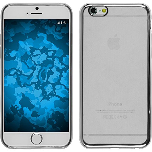 PhoneNatic Case für Apple iPhone 6s / 6 Hülle Silikon silber Slim Fit Cover iPhone 6s / 6 Tasche + 2 Schutzfolien