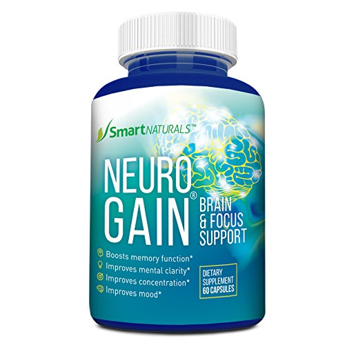 Neurogain Premium Nootropic Mental Booster – Brain Support Supplement – Improves Mood & Mental Clarirty & Enhances Memory Function – 60 Veggie Caps With Green Tea, Ginkgo Biloba & R. Rosea Extract - Biloba Green Tea