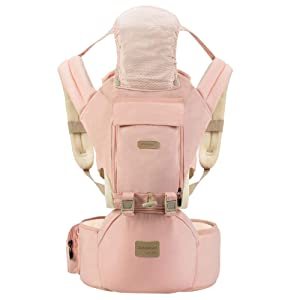 SONGMAY Ergonomic 360° Baby Soft Carrier, Comfortable Adjustable Positions,Breastfeeding Fits All Newborn Toddler,HipSeat Infant Child Carrier, All Seasons,Perfect for Shopping Travelling (Pink)