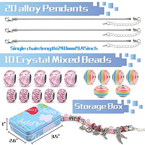 VGOODALL Charm Armband Kit DIY, Schmuck Bastelset Handwerk Perle überzogen mit Silber Kette Mädchen Geschenke Armband Bastelset für Mädchen
