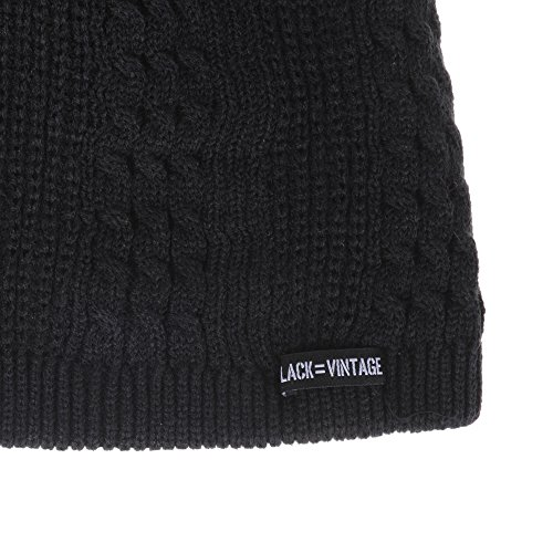 Slouchy Gorros WITHMOONS Beanie Patched Hat Knitted de Punto Lining Fleece Negro CR5148 8x7CFqw