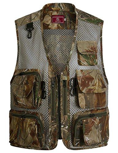 Zhusheng Men's Camo Mesh Multi Pockets Outdoors Utility Hunting Travels Fly Fishing Tactical Vests (Large, Desert 002)