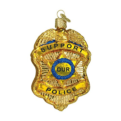 Old World Christmas Police Badge Glass Blown Ornament