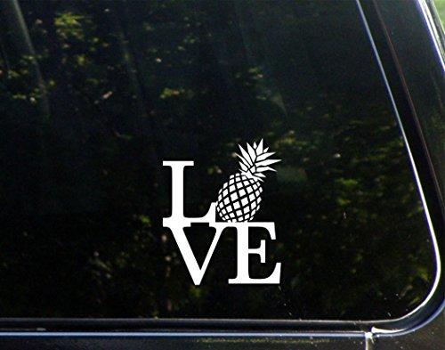 """Love With Pineapple - 3-3/4"""" x 4-1/2"""" - Vinyl Die Cut Decal/"""