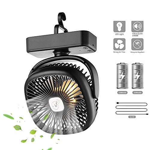 Lixada Camping Lantern with Tent Ceiling Fan-4400mAh Battery Powered Adjustable Speeds Mini Desk Fan with USB Charging Input Hooks Fit for Survival,Hurricane,Emergency,Storm,Outages