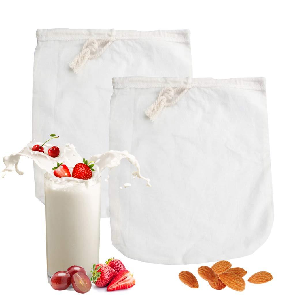 Bolsa de leche de nuez orgánica - Paquete de 2 jugos de frutas y verduras Bolsa de filtro,café,almendra,coco,soja,yogur,filtro de malla de alimentos ...