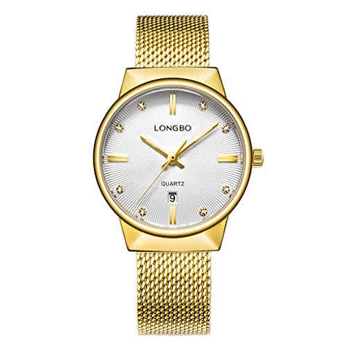 LONGBO Luxury Women's Gold Metal Mesh Strap Analog Quartz Business Watch Auto Date Calendar Couple Dress Watch Waterproof Rhinestone Accented Dial Wristwatch for (Ladies Calendar Watch)