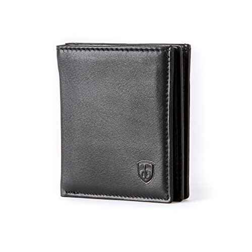 ~ card Travel for Leather Card DV Collection Credit Aaron Small mens Holder Black with in Genuine slots wallet 16 Plume x0T78qfw8z