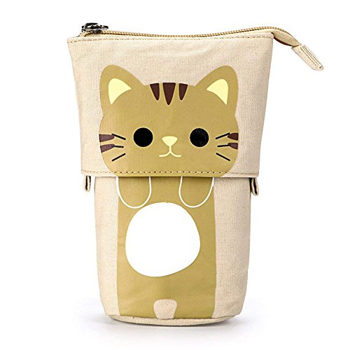 Pencil Case New Telescopic Stand up Canvas Zipper Kawaii Cat Pencil Box Boys Girls School Supplies Student Stationery Gift for Kids (BrownCat)