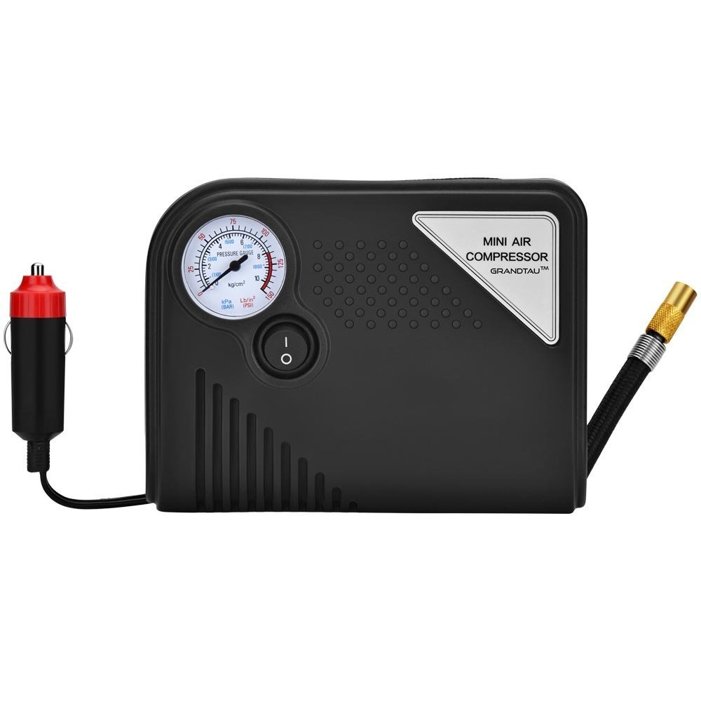 Tire Inflator, GRANDTAU Portable Air Compressor Mini 150 PSI 12V DC Car Electric Auto Tyre Pump for Vehicles, Trucks, Bicycles, Basketballs and Inflatable Objects