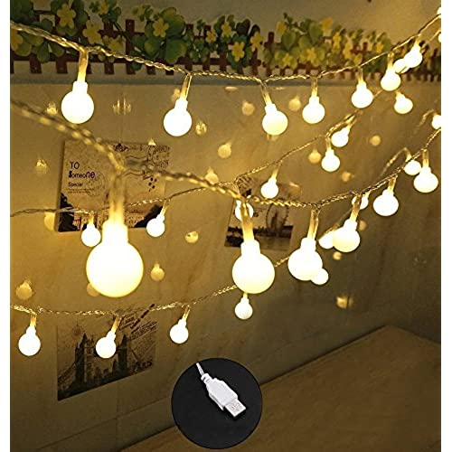 100 LED Globe String Lights, Ball Christmas Lights, Indoor / Outdoor  Decorative Light, USB Powered, 39 Ft, Warm White Light   For Patio Garden  Party Xmas ...