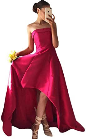 VinBridal Dark Red Strapless High Low Long Satin Prom Dresses Party Gown