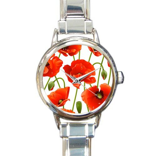 Personalized Watch Poppy Flower Design Round Italian Charm stainless steel Watch by Poppy Flower Watch (Image #1)
