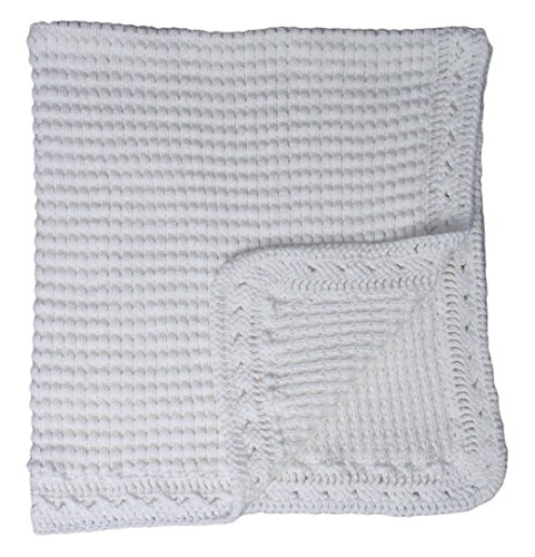 Baby Fancy Christening White Hand Crochet 100% Cotton Shawl/Blanket 39 x 22 in - (Fancy Crochet)
