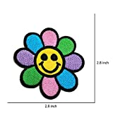 R2K 2Pcs. Flower Funny Smiley Smile Happy Face DIY Embroidered Sew Iron on Patch