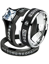 his her black plated stainless steel bridal ring set titanium wedding band - Stainless Steel Wedding Ring Sets