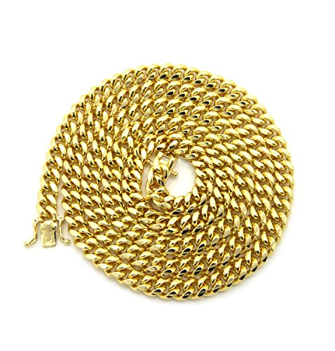 Gold-Tone Men's 6mm Miami Cuban Link Chain Necklace with Box Clasp - ()