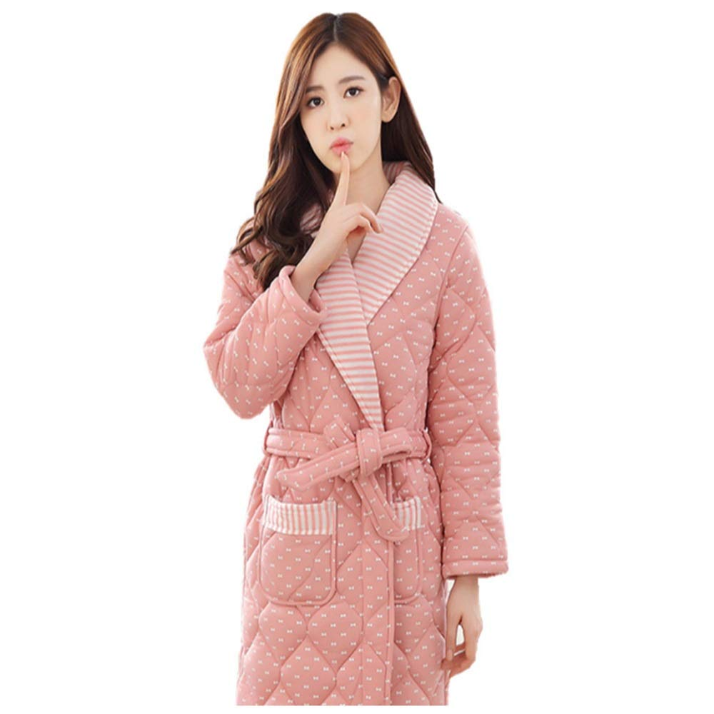 NAN Liang Winter Bathrobes Thickening Plus Long Sleepwear Ladies Home Robes Cotton Large Size Warm Nightwear (Size   XL)
