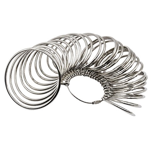 NIUPIKA Metal Bangle Sizer Jeweler's Professional Bracelet Size Measure Tool Bracelets Wrist Sizing Gauge Measuring US Sizes 1-27 (Jewelers Bracelet Mandrel)