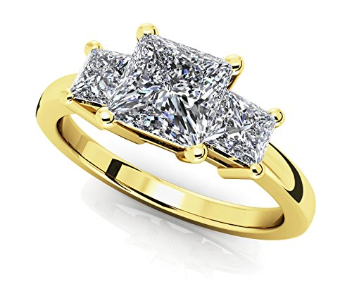 Smjewels 1.23 Ct Princess Cut Sim Triple Stone Engagment Ring In Solid 14K Yellow Gold (Princess Cut Engagment Ring)
