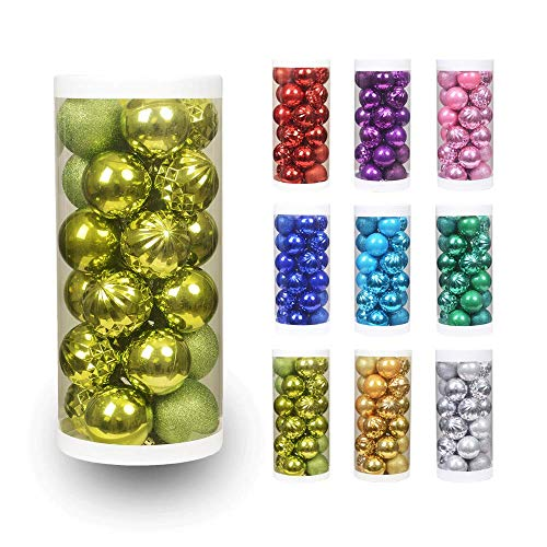 Shatterproof Set Ornament - XmasExp 24ct Christmas Ball Ornaments Shatterproof Christmas Ornaments Set Decorations for Xmas Tree Balls 40mm/1.57